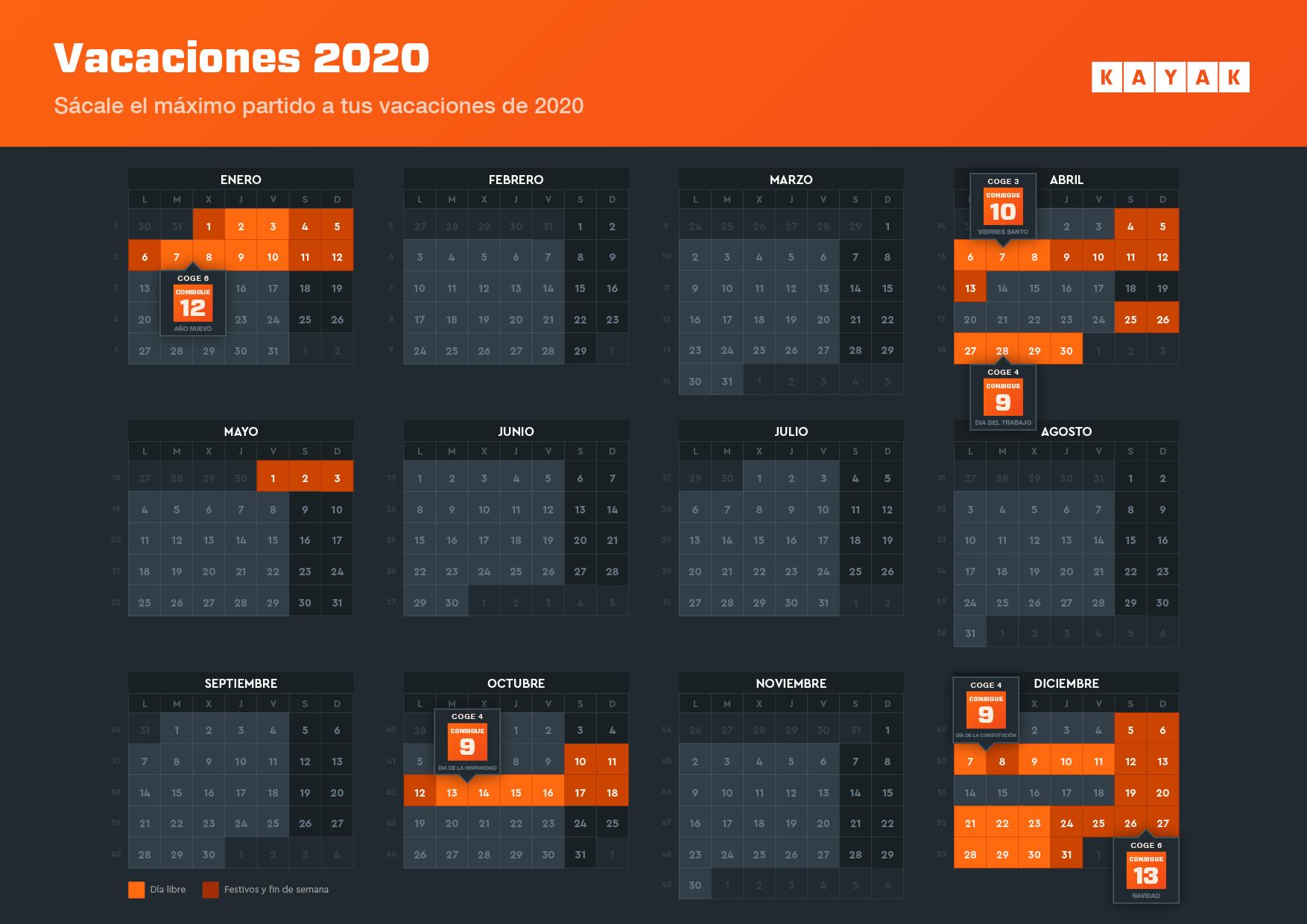El calendario para tus vacaciones 2020. Descarga tu calendario.
